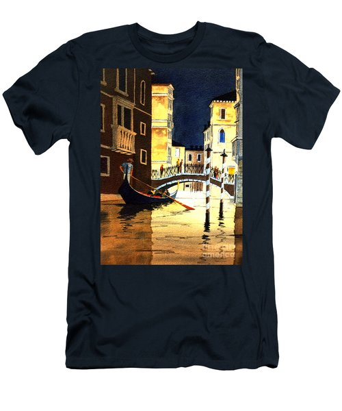 Men's T-Shirt (Athletic Fit) featuring the painting Evening Lights - Venice by Bill Holkham