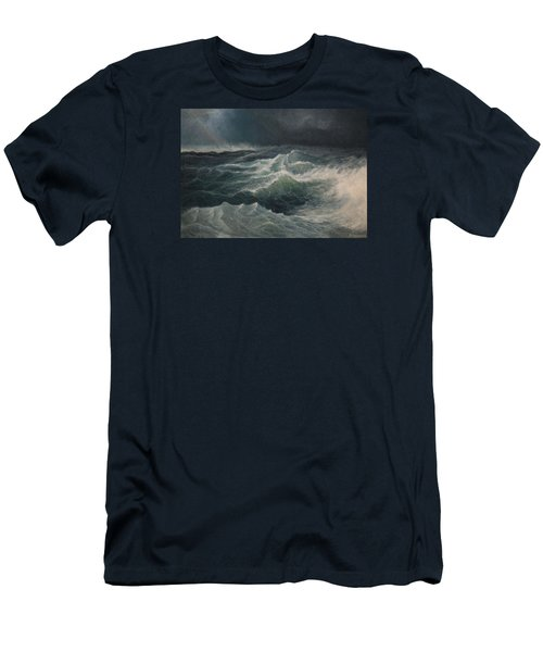 Men's T-Shirt (Slim Fit) featuring the painting Eye Of Storm by Mikhail Savchenko