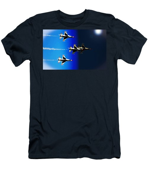 Men's T-Shirt (Slim Fit) featuring the photograph F16 Flight Into Space by DigiArt Diaries by Vicky B Fuller