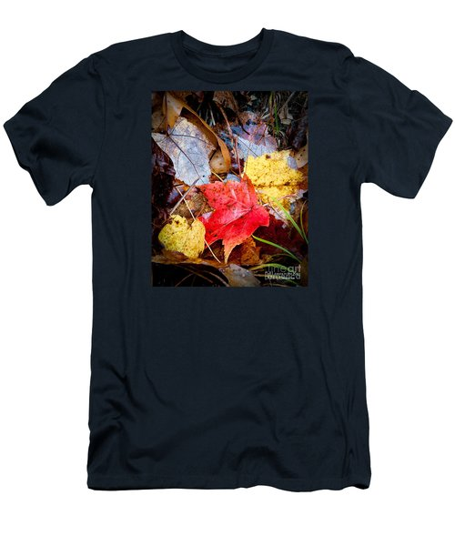 Men's T-Shirt (Athletic Fit) featuring the photograph Fall Leaves In The Rain by David Perry Lawrence