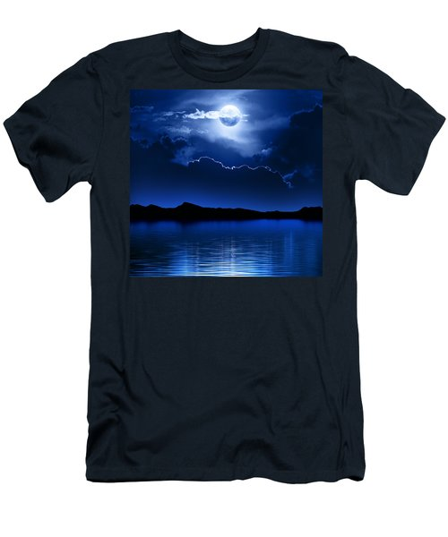 Fantasy Moon And Clouds Over Water Men's T-Shirt (Slim Fit) by Johan Swanepoel