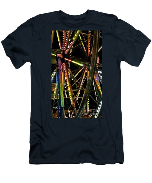 Men's T-Shirt (Slim Fit) featuring the photograph Lit Ferris Wheel  by Lilliana Mendez