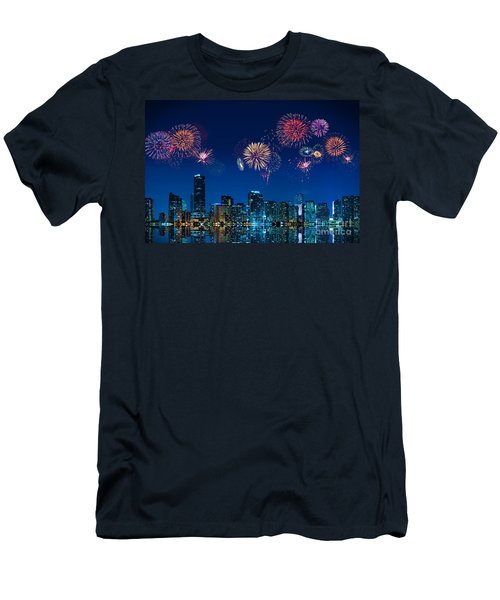 Men's T-Shirt (Slim Fit) featuring the photograph Fireworks In Miami by Carsten Reisinger