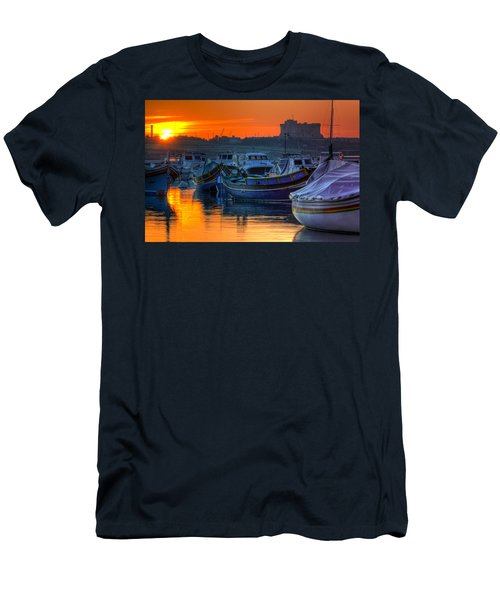 Fishing Boats In Birzebuggia Harbour Men's T-Shirt (Athletic Fit)