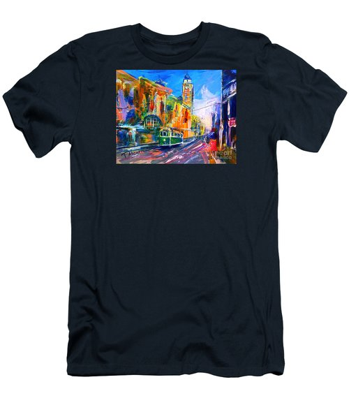 Men's T-Shirt (Slim Fit) featuring the painting Flinders Street - Original Sold by Therese Alcorn