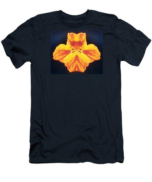 Bright Orange Floating Nasturtium Men's T-Shirt (Slim Fit) by Belinda Lee