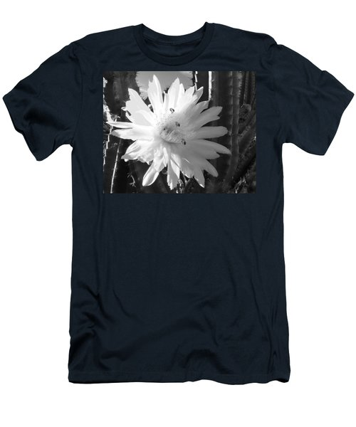 Men's T-Shirt (Slim Fit) featuring the photograph Flowering Cactus 5 Bw by Mariusz Kula