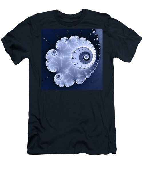 Fractal Spiral Light And Dark Blue Colors Men's T-Shirt (Athletic Fit)