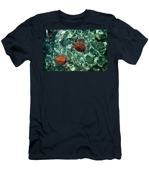 Fragile Underwater World. Sea Turtles In A Crystal Water. Maldives Men's T-Shirt (Slim Fit) by Jenny Rainbow