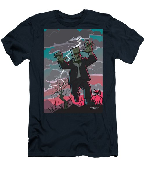 Frankenstein Creature In Storm  Men's T-Shirt (Athletic Fit)