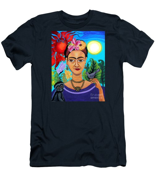 Frida Kahlo With Monkey And Bird Men's T-Shirt (Slim Fit) by Genevieve Esson