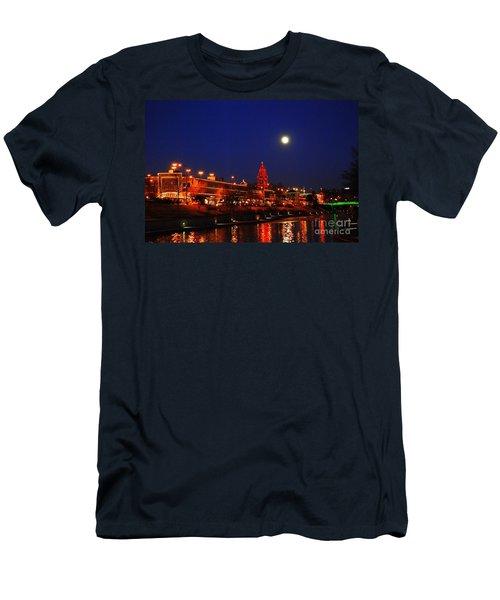 Full Moon Over Plaza Lights In Kansas City Men's T-Shirt (Slim Fit) by Catherine Sherman
