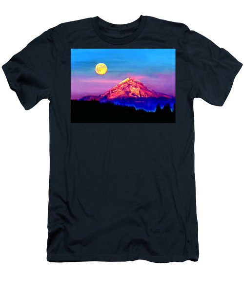 Full Moon Rising Over Mount Hood Oregon Men's T-Shirt (Athletic Fit)