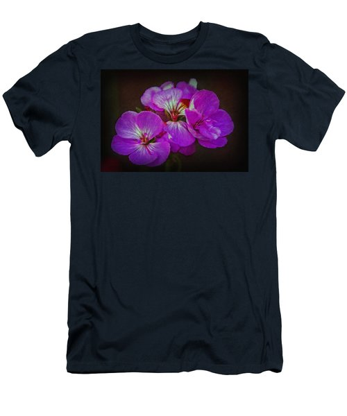 Men's T-Shirt (Slim Fit) featuring the photograph Geranium Blossom by Hanny Heim