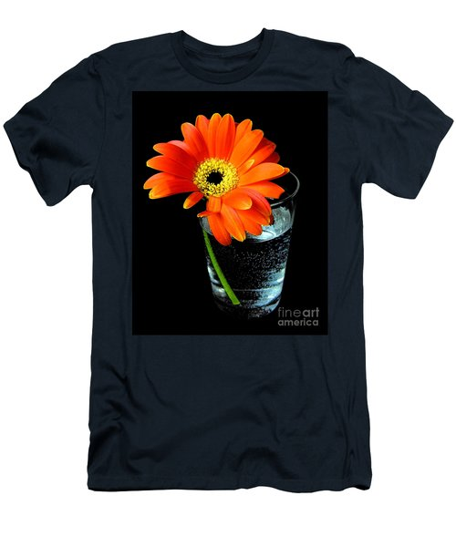 Men's T-Shirt (Slim Fit) featuring the photograph Gerbera Daisy In Glass Of Water by Nina Ficur Feenan