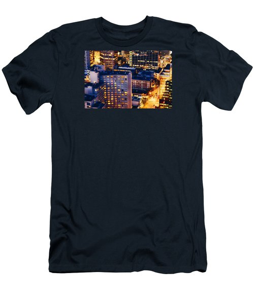 Men's T-Shirt (Slim Fit) featuring the photograph Golden Cityscape Vancouver Mcccl by Amyn Nasser