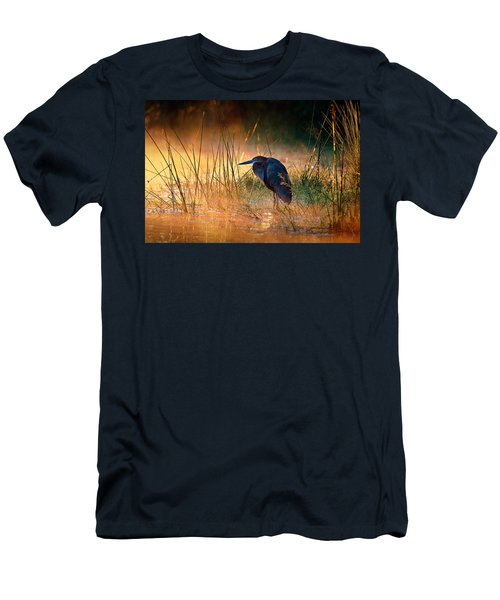 Goliath Heron With Sunrise Over Misty River Men's T-Shirt (Athletic Fit)