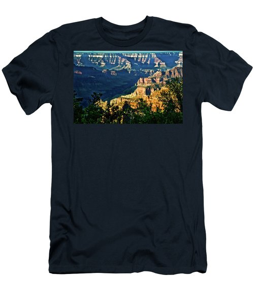 Men's T-Shirt (Slim Fit) featuring the photograph Grand Canyon  Golden Hour On Angel Point by Bob and Nadine Johnston