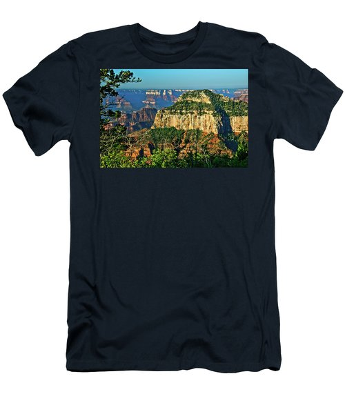 Men's T-Shirt (Slim Fit) featuring the photograph Grand Canyon Peak Angel Point by Bob and Nadine Johnston