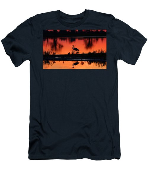 Great Blue Heron At Sunrise Men's T-Shirt (Slim Fit) by Allan Levin