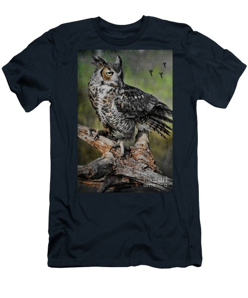 Great Horned Owl On Branch Men's T-Shirt (Slim Fit) by Deborah Benoit