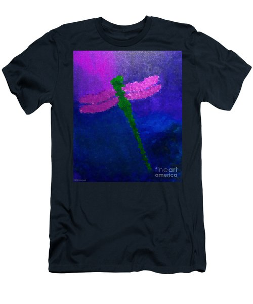 Men's T-Shirt (Slim Fit) featuring the painting Green Dragonfly by Anita Lewis