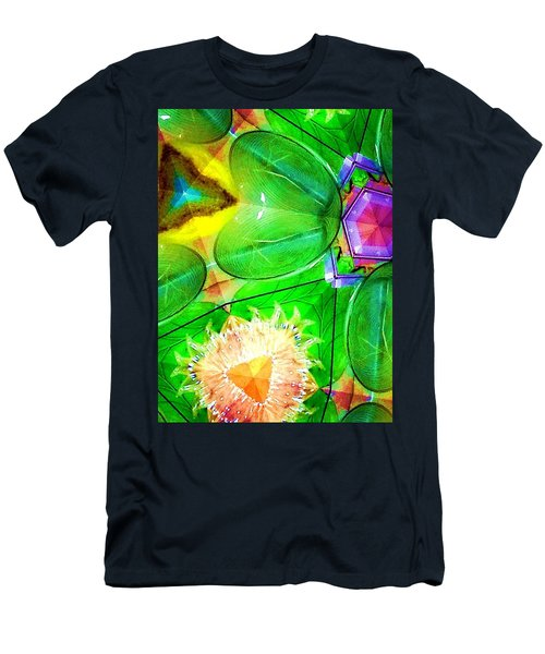 Green Thing 2 Abstract Men's T-Shirt (Slim Fit) by Saundra Myles