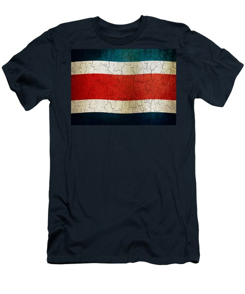 Grunge Costa Rica Flag Men's T-Shirt (Athletic Fit)