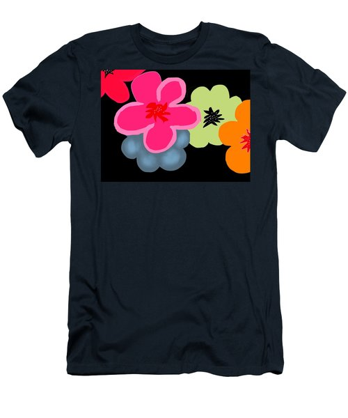 Men's T-Shirt (Slim Fit) featuring the digital art Happy Flowers Pink by Christine Fournier