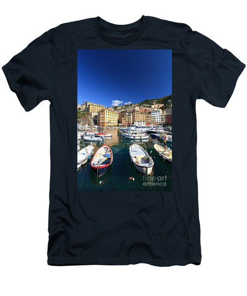 Men's T-Shirt (Slim Fit) featuring the photograph Harbor With Fishing Boats by Antonio Scarpi