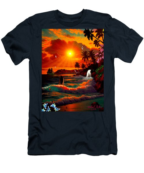 Hawaiian Islands Men's T-Shirt (Slim Fit) by Michael Rucker