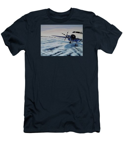 Men's T-Shirt (Slim Fit) featuring the painting Hawker - Airplane On Ice by Marilyn  McNish