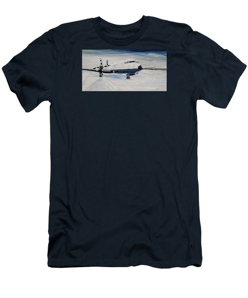 Men's T-Shirt (Slim Fit) featuring the painting Hawker - Waiting Out The Storm by Marilyn  McNish