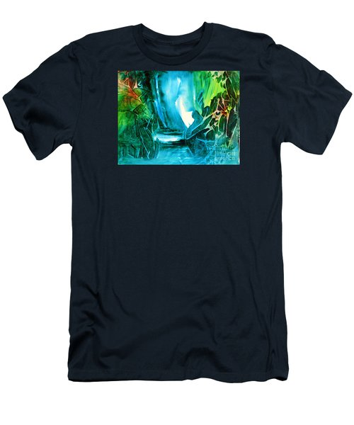 Men's T-Shirt (Slim Fit) featuring the painting Hidden In The Stream by Allison Ashton