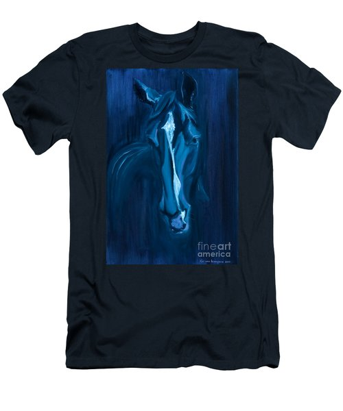 Men's T-Shirt (Slim Fit) featuring the painting horse - Apple indigo by Go Van Kampen