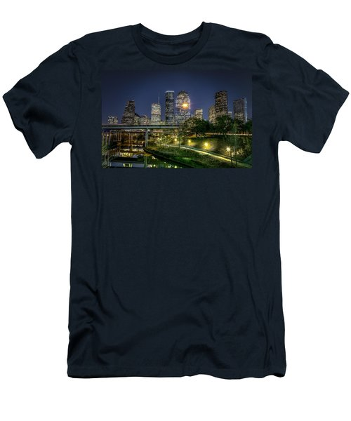 Houston On The Bayou Men's T-Shirt (Slim Fit) by David Morefield