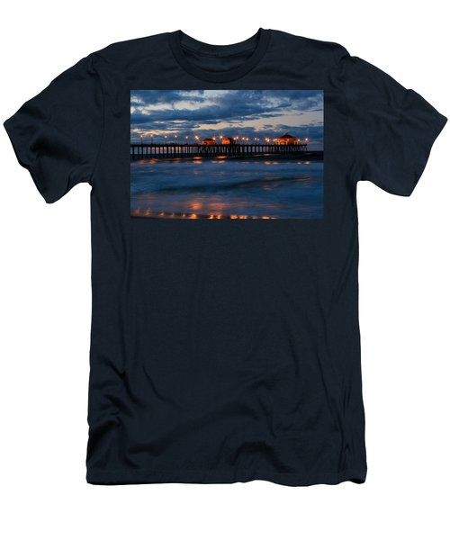 Huntington Beach Pier Lights  Men's T-Shirt (Slim Fit) by Duncan Selby