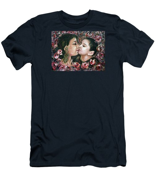 Men's T-Shirt (Slim Fit) featuring the painting I Love You Mom by Harsh Malik