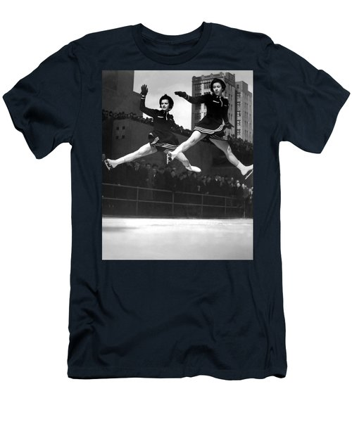 Ice Skaters Perform In Ny Men's T-Shirt (Athletic Fit)
