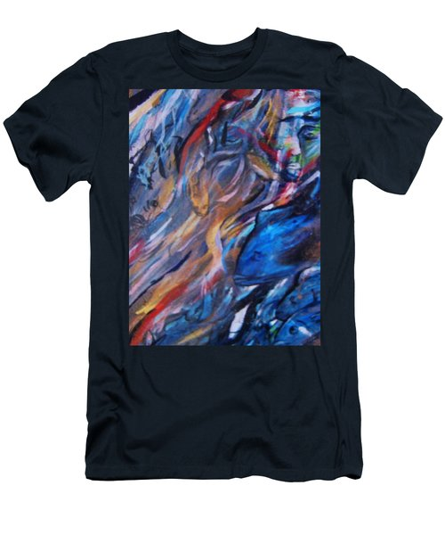 Men's T-Shirt (Slim Fit) featuring the painting In The Blue by Dawn Fisher
