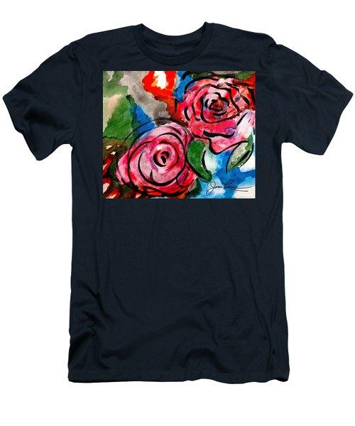 Juicy Red Roses Men's T-Shirt (Slim Fit) by Joan Reese