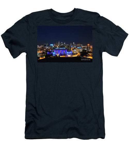 Kansas City Union Station In Blue  Men's T-Shirt (Slim Fit) by Catherine Sherman