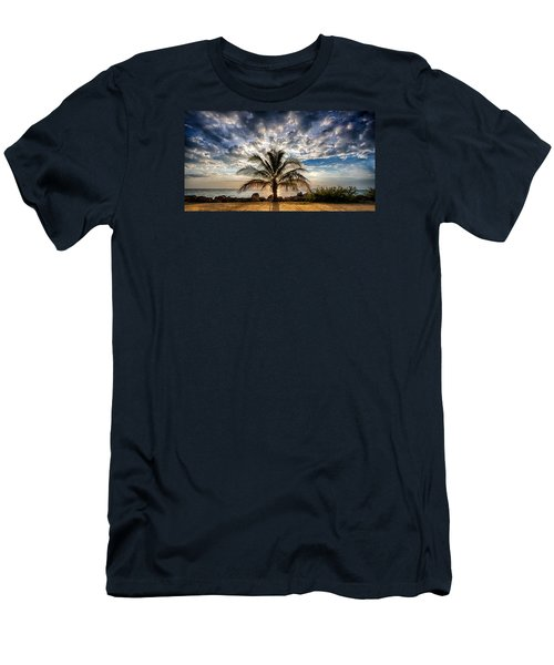 Key West Florida Lone Palm Tree  Men's T-Shirt (Athletic Fit)