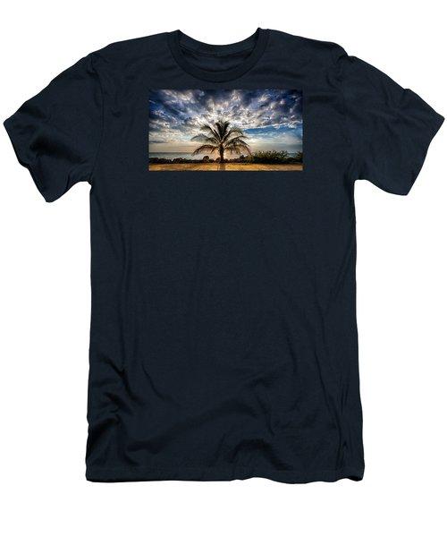 Key West Florida Lone Palm Tree  Men's T-Shirt (Athletic Fit)