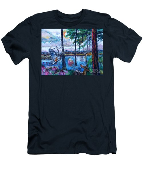 Kingfisher And Deer In Landscape Men's T-Shirt (Athletic Fit)