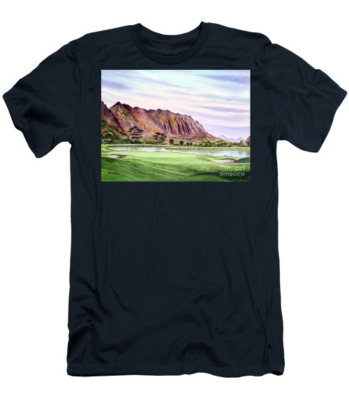 Men's T-Shirt (Athletic Fit) featuring the painting Koolau Golf Course Hawaii 16th Hole by Bill Holkham