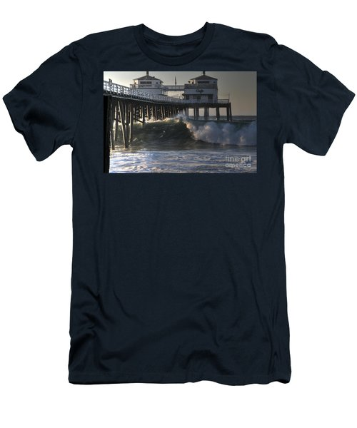 Large Wave At Malibu Pier Men's T-Shirt (Athletic Fit)