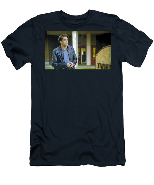 Men's T-Shirt (Slim Fit) featuring the painting Like The Night When My Girl Went Away by Luis Ludzska