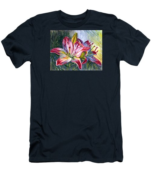 Men's T-Shirt (Slim Fit) featuring the painting Lilies Twin by Harsh Malik