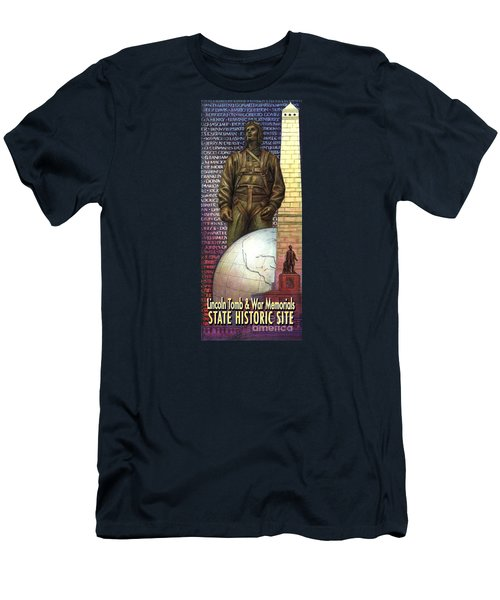 Lincoln Tomb And War Memorials Street Banners Korean War Pilot Men's T-Shirt (Slim Fit) by Jane Bucci